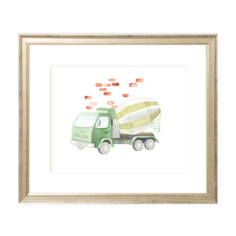 Concrete Mixer Landscape Watercolor Print