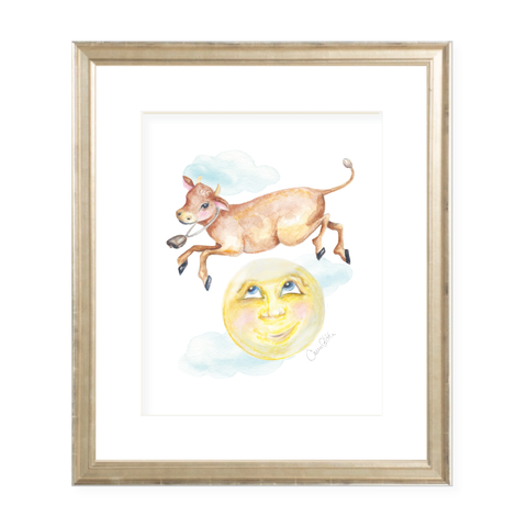 Cow Jumped Over the Moon Portrait Watercolor Print