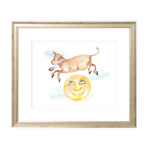Cow Jumped Over the Moon Landscape Watercolor Print