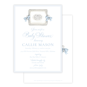 Crawford in Blue Baby Shower Invitation