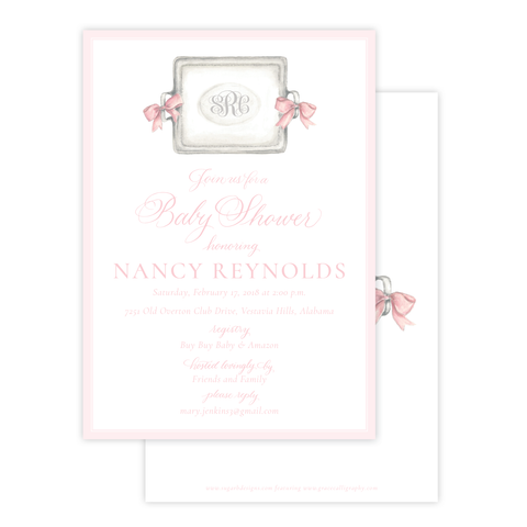 Crawford in Pink Baby Shower Invitation