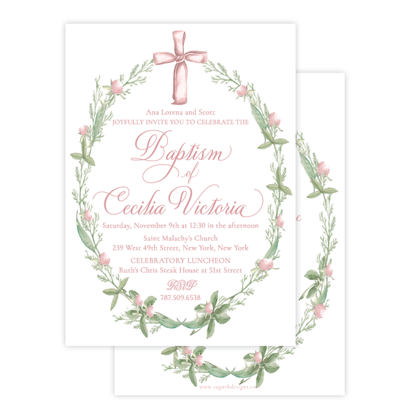 Pink Cross Large Wreath Baptism Invitation