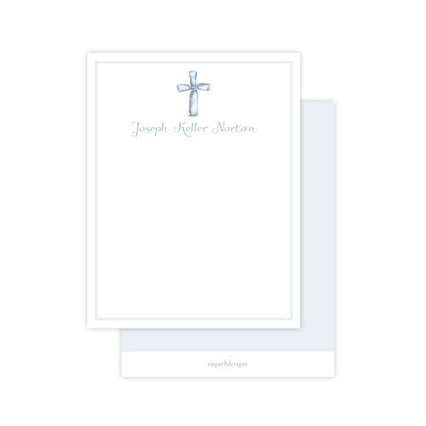 Watercolor Cross Blue Flat Stationery