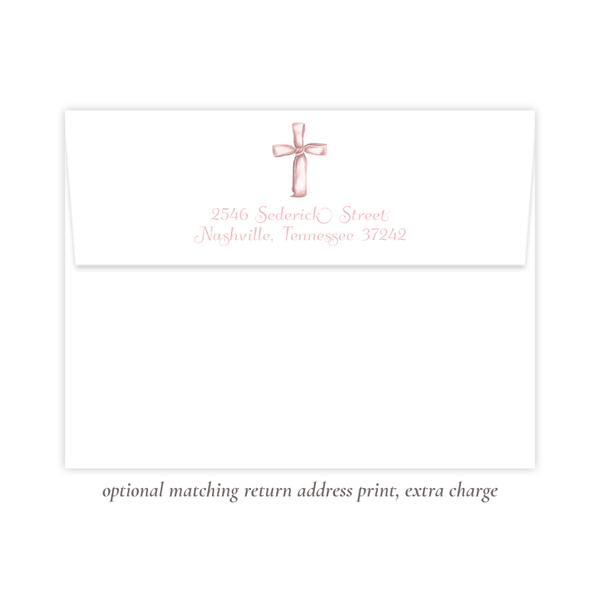 Watercolor Cross Pink Flat Stationery
