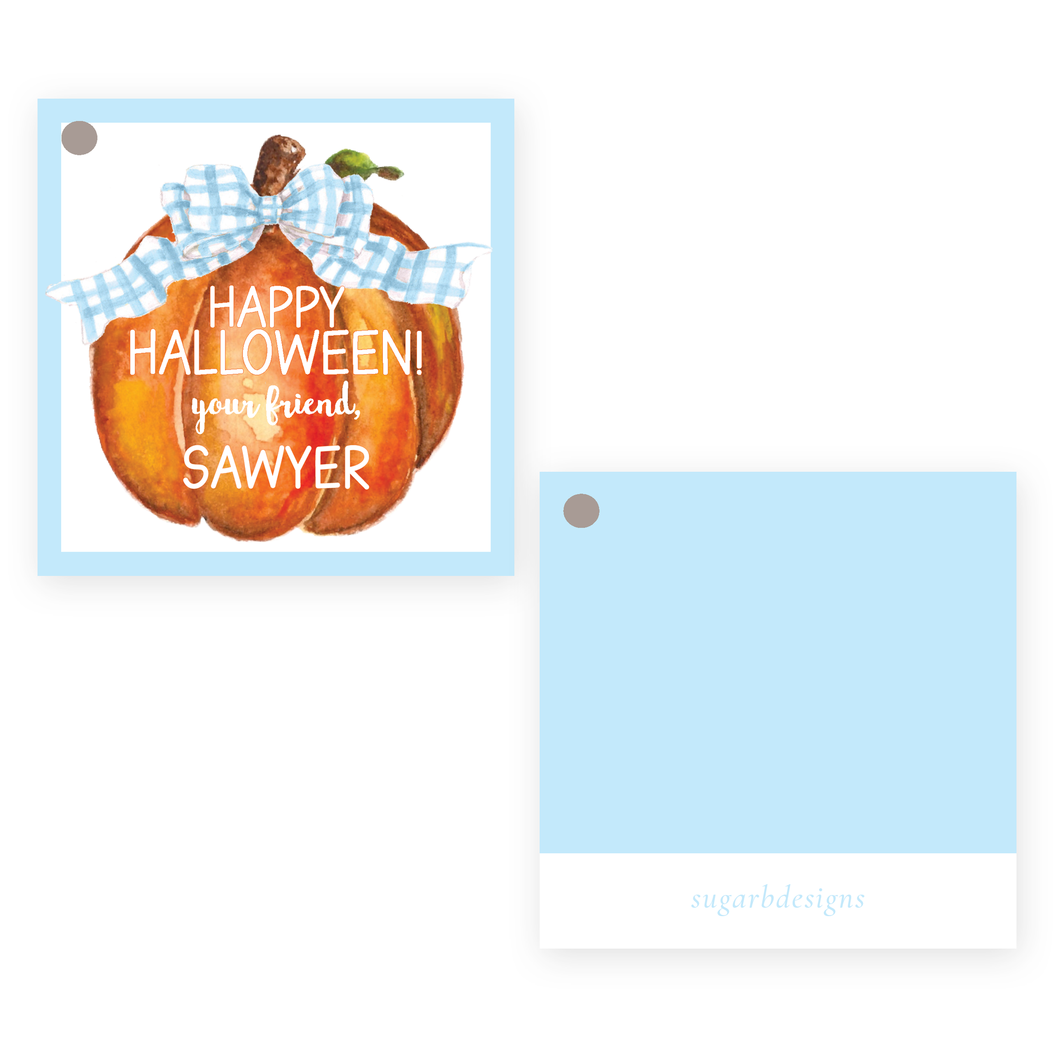 Cute Pumpkin Blue Bow Square Party Favor Gift Tag