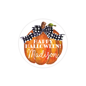 Cute Pumpkin Black Bow Round Sticker