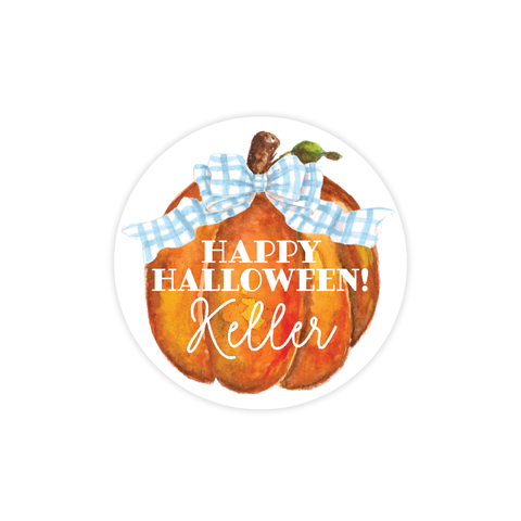Cute Pumpkin Blue Bow Round Sticker
