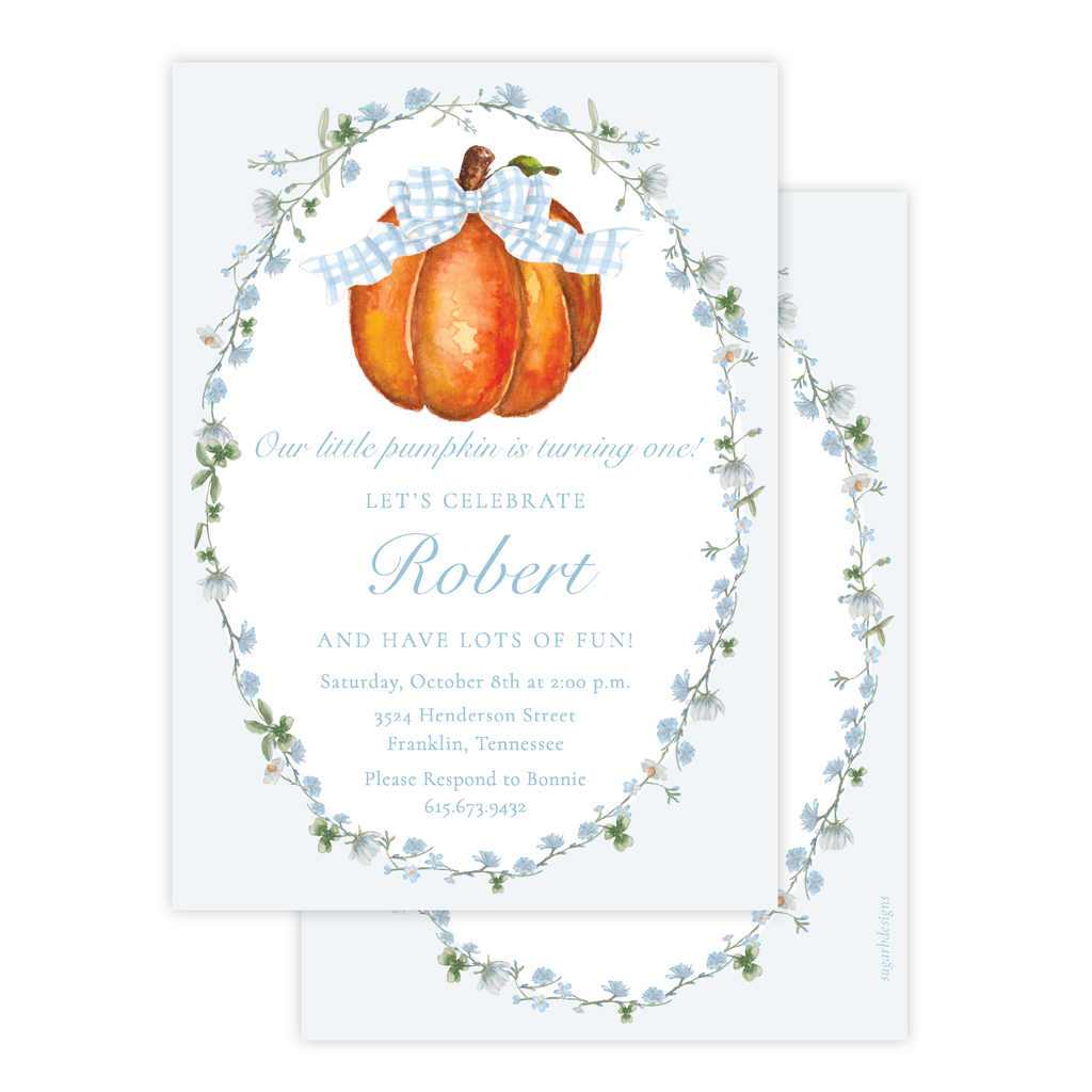 Cute Pumpkin Blue Bow Birthday Invitation