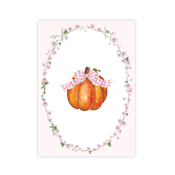 Cute Pumpkin Pink Bow Birthday Invitation