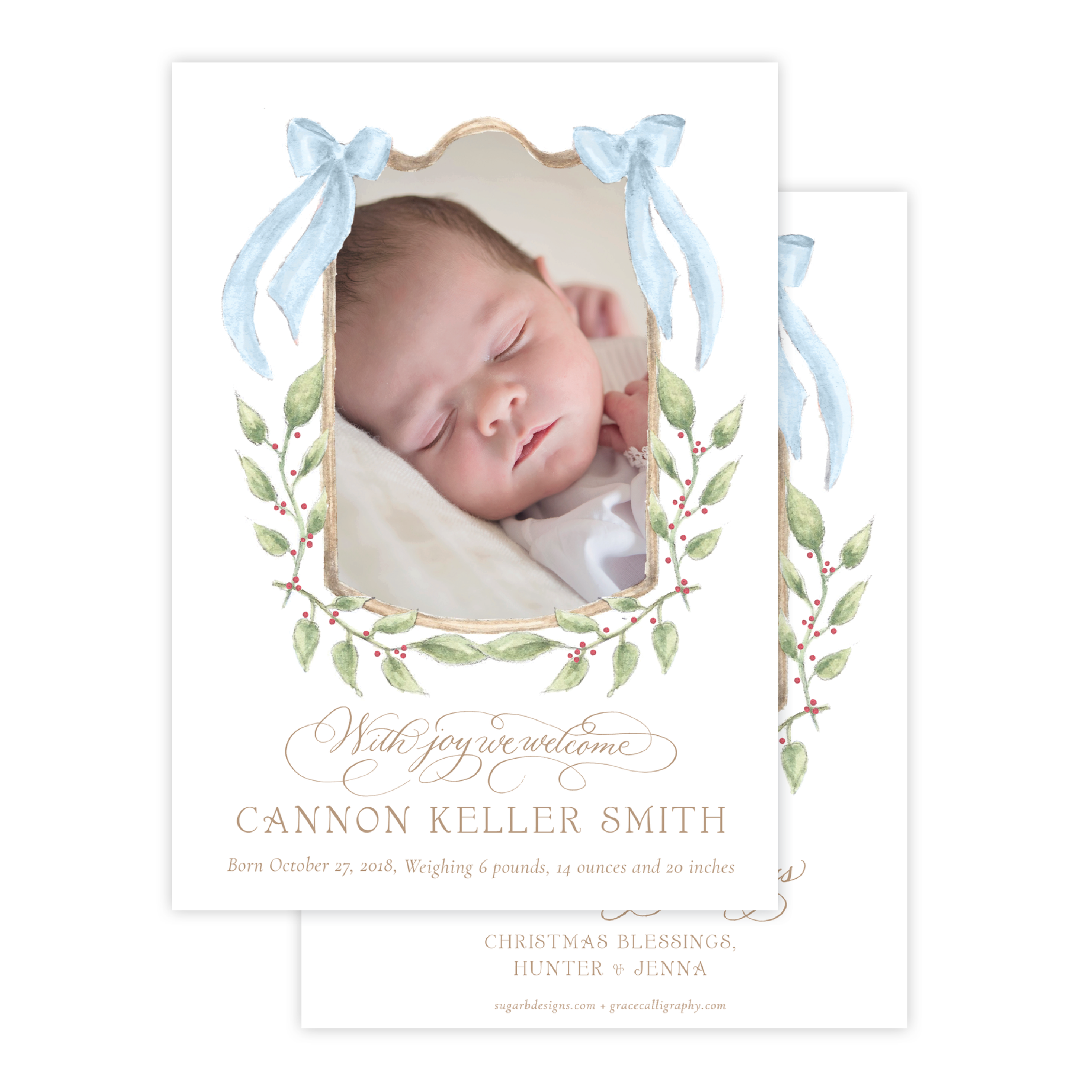 Dalton Frame Blue Birth Announcement Christmas Card