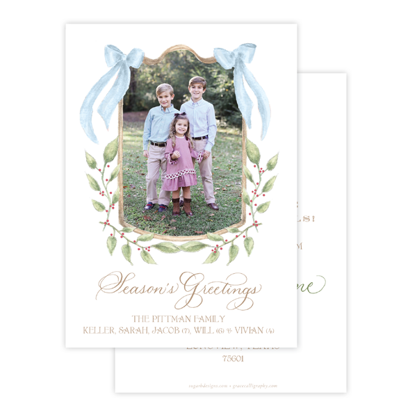 Dalton Frame Blue Change of Address Christmas Card