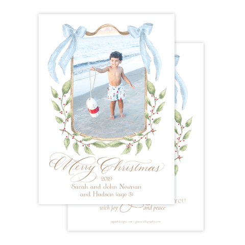 Dalton Frame 'Merry Christmas' Blue Vertical Two Photo Christmas Card