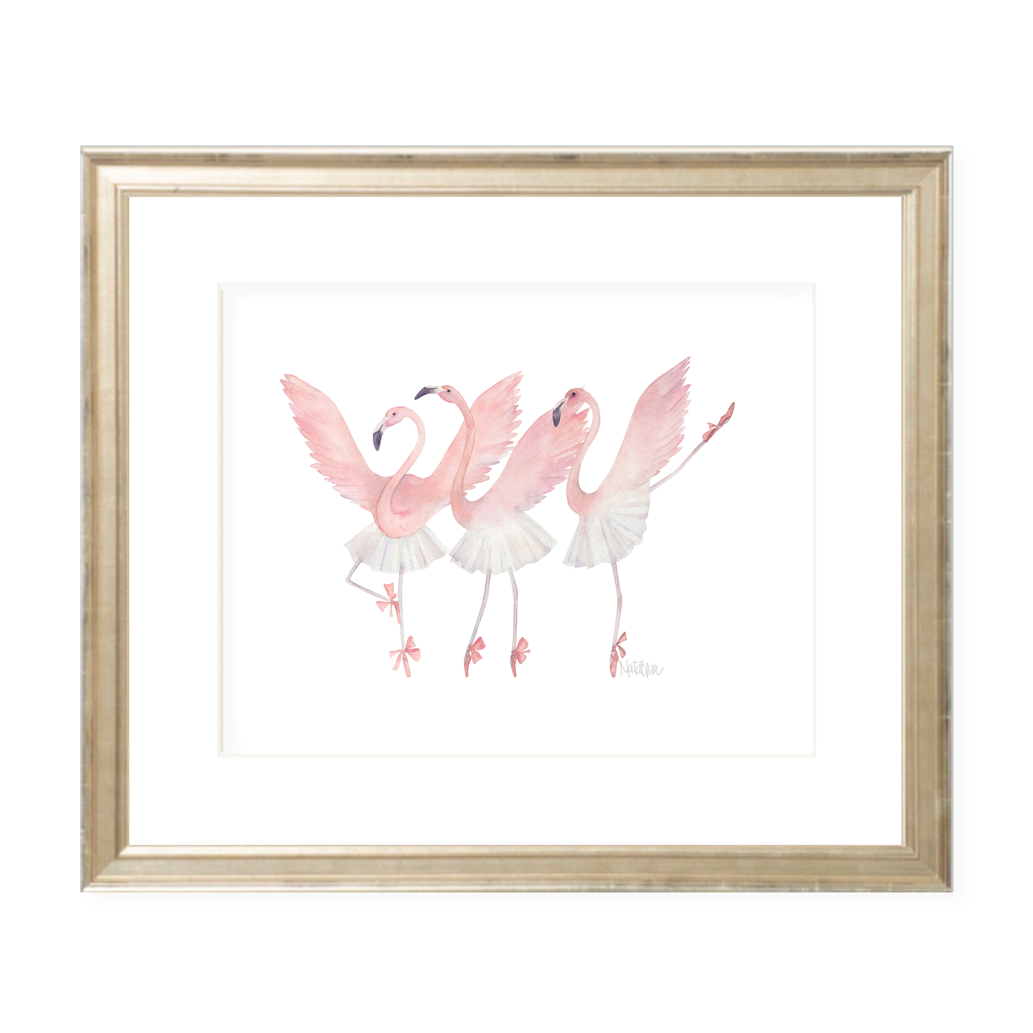 Dancing Flamingos Landscape Watercolor Print