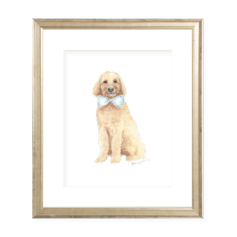 Doodle Pup Blue Bow Portrait Watercolor Print