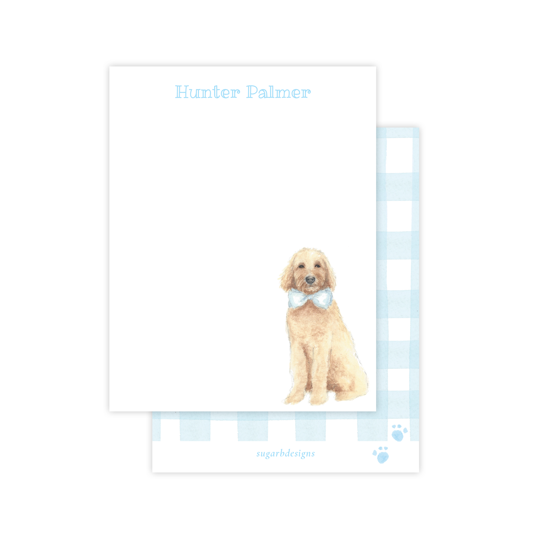 Doodle Pup Blue Flat Stationery