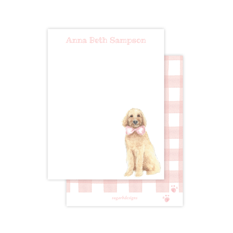 Doodle Pup Pink Flat Stationery