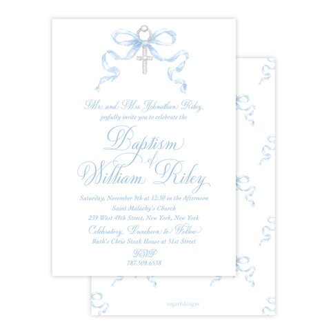 Draper Bow Blue Baptism Invitation