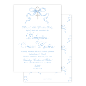 Draper Bow Blue Dedication Invitation