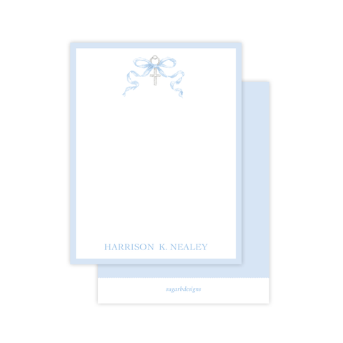 Draper Bow Blue Flat Stationery