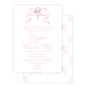 Draper Bow Pink Baptism Invitation