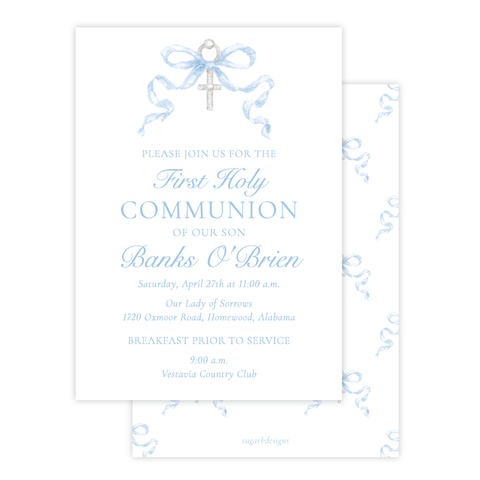 Draper Bow Blue Communion Invitation