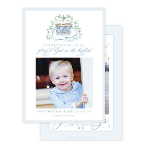 Drummer Boy Flourished Blue Christmas Card