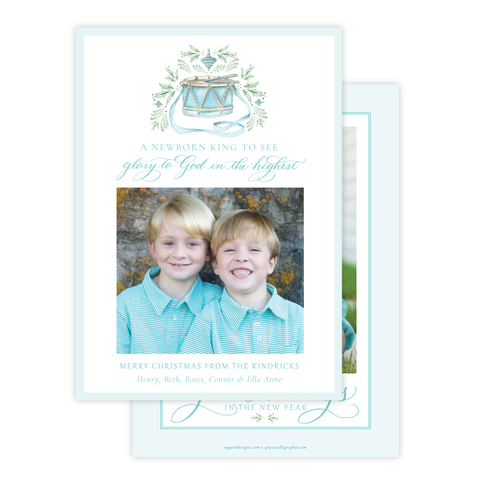 Drummer Boy Flourished Seafoam Christmas Card