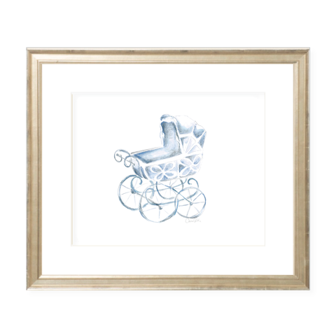 Eyelet Pram Blue Landscape Watercolor Print