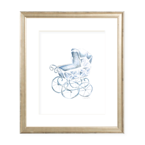 Eyelet Pram Blue Portrait Watercolor Print