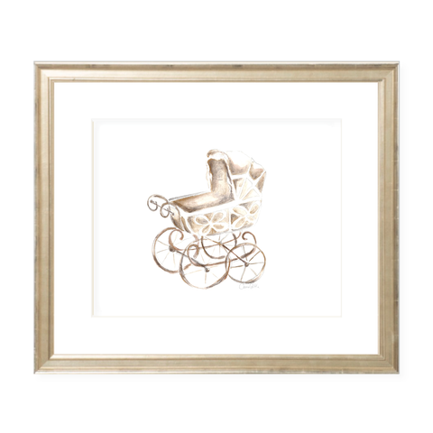 Eyelet Pram Neutral Landscape Watercolor Print