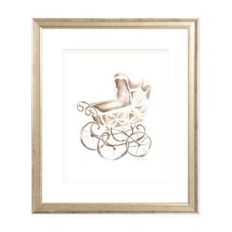 Eyelet Pram Neutral Portrait Watercolor Print