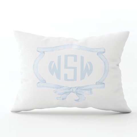 Edie Wreath Blue Monogram Lumbar Pillow
