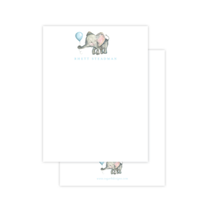 Elie and Balloon Blue Flat Stationery
