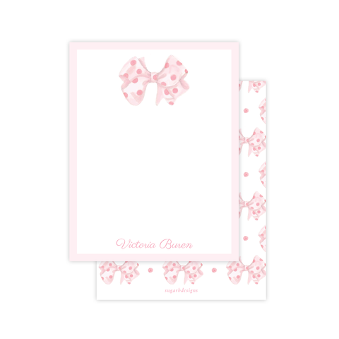 Emma's Polka Dot Bow Flat Stationery