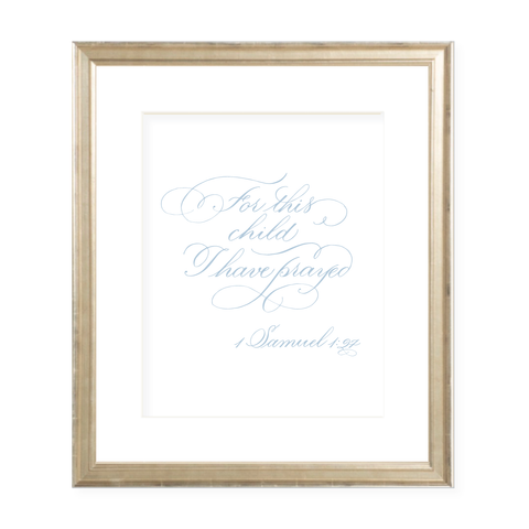 For This Child Blue Calligraphy Portrait Watercolor Print