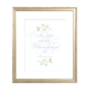 For This Child Blue Calligraphy with Garland Print by Sugar B Designs