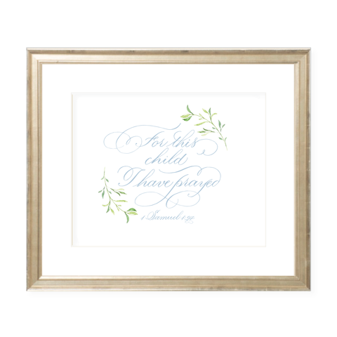 For This Child Blue Calligraphy with Garland Landscape Watercolor Print