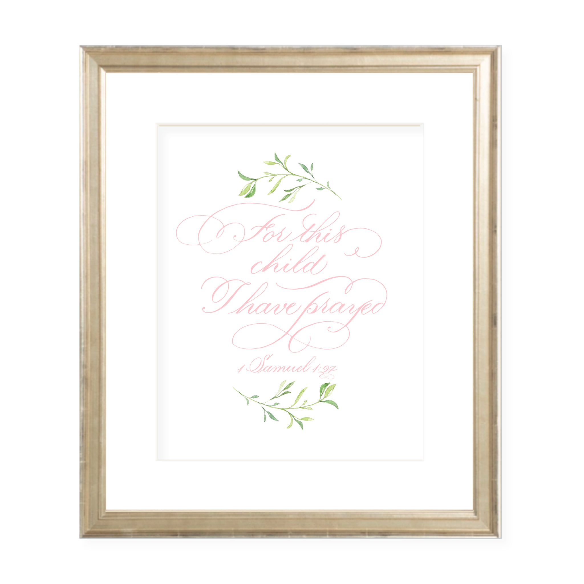 For This Child Pink Calligraphy with Garland Portrait Watercolor Print by Sugar B Designs