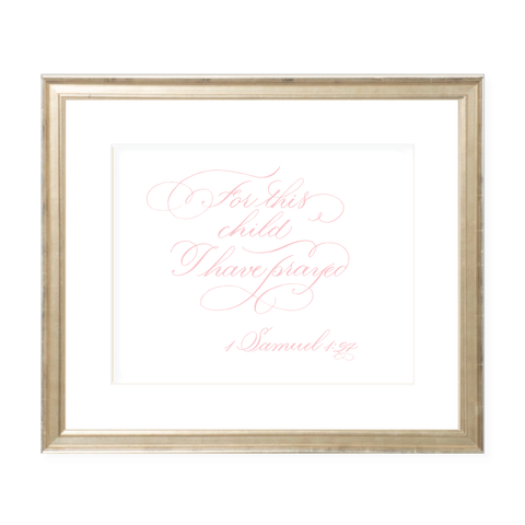 For This Child Pink Calligraphy Landscape Watercolor Print