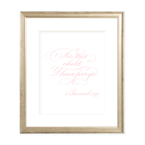 For This Child Pink Calligraphy Portrait Watercolor Print