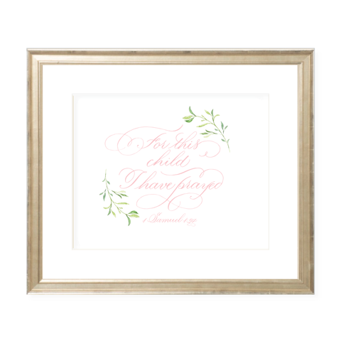 For This Child Pink Calligraphy with Garland Landscape Watercolor Print