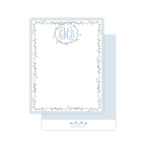 Farley Floral Blue Flat Stationery
