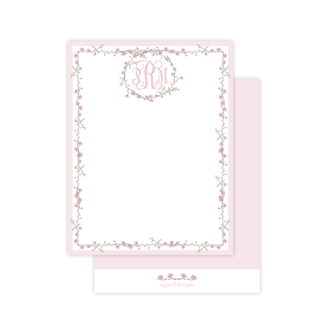 Farley Floral Pink Flat Stationery