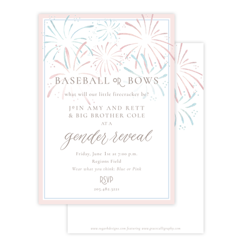 Fireworks Gender Reveal Invitation