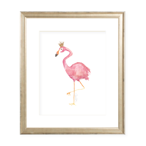 Flamingo and Crown Portrait Watercolor Print