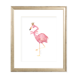 Flamingo and Crown with Pink Bow Portrait Watercolor Print