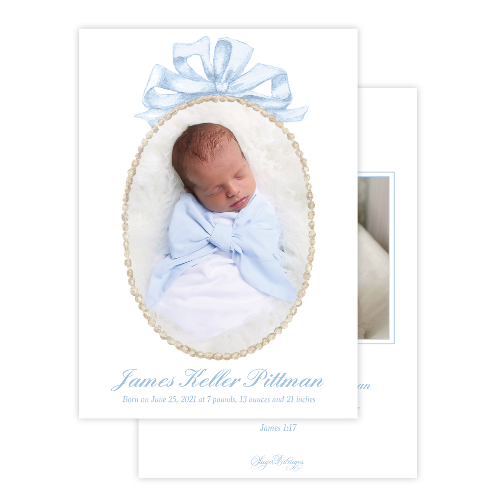 Florentine Wreath Blue Birth Announcement