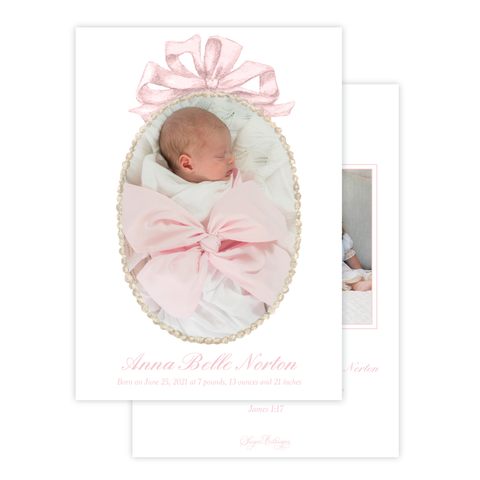 Florentine Wreath in Pink Birth Announcement