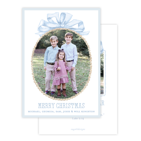 Florentine Wreath in Blue Christmas Card