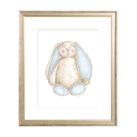 Fluffy Bunny in Blue Watercolor Print
